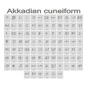 Set of monochrome icons with akkadian cuneiform alphabet