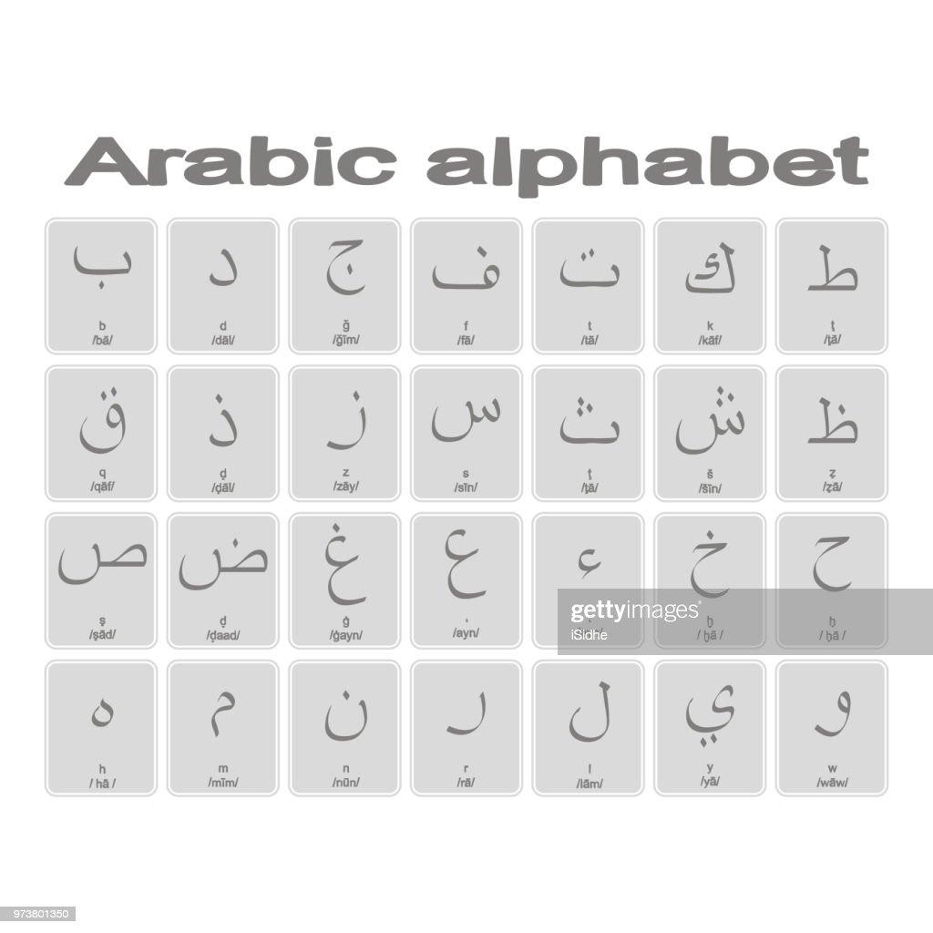 Set of monochrome icons with Arabic alphabet