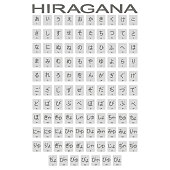 Set of monochrome icons with japanese alphabet hiragana