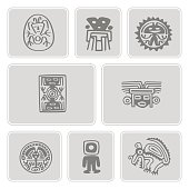 set of monochrome icons with Mexican relics dingbats characters