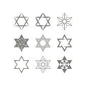 set of monochrome icons with star of David traditional Jewish symbol