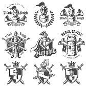 Set of monochrome knights emblems