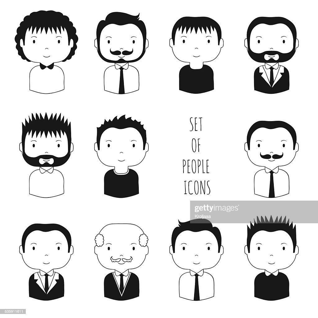 Conjunto de iconos de faces monocromo macho. : Arte vectorial