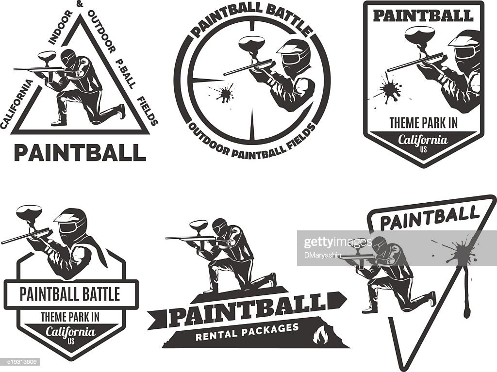 Set of monochrome paintball emblems