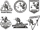 Set of monochrome paintball emblems