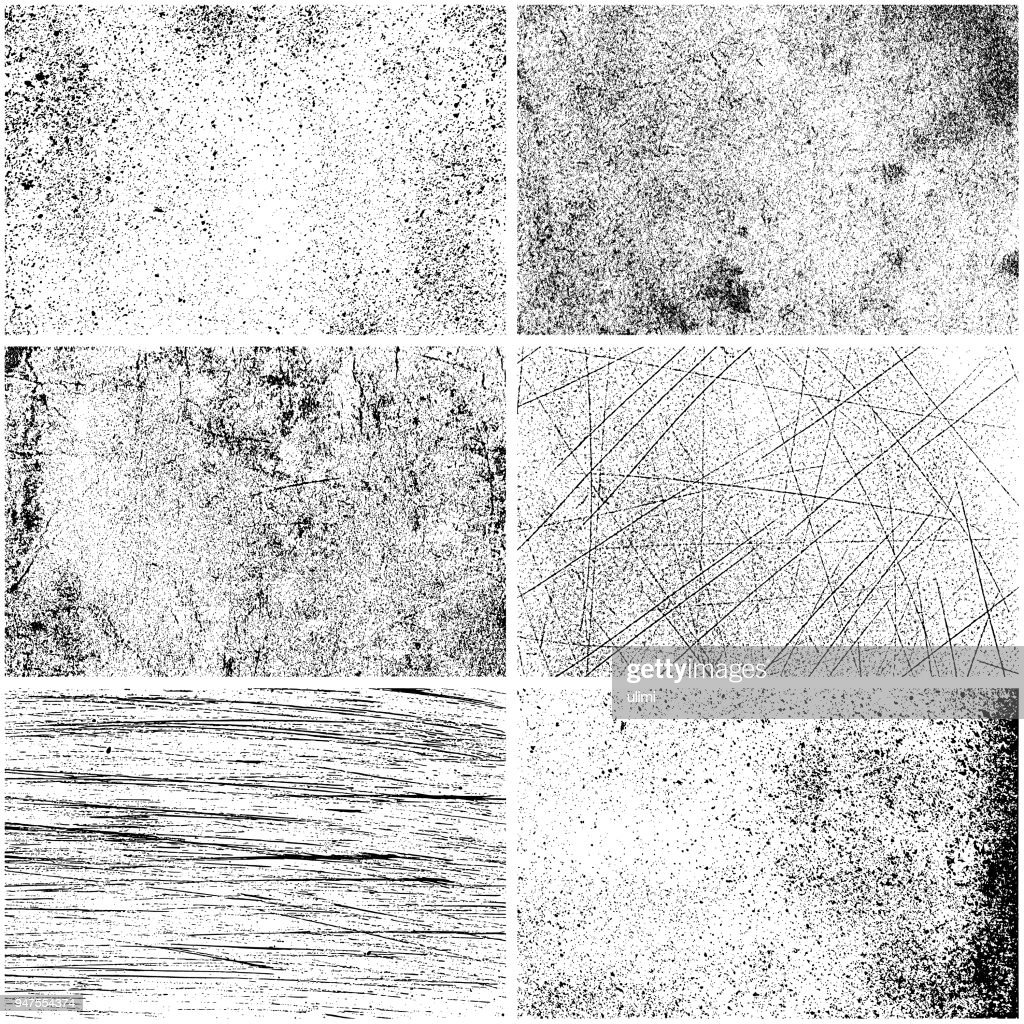 Set of monochrome texture backgrounds