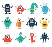 Set of Monsters Isolated on White Background