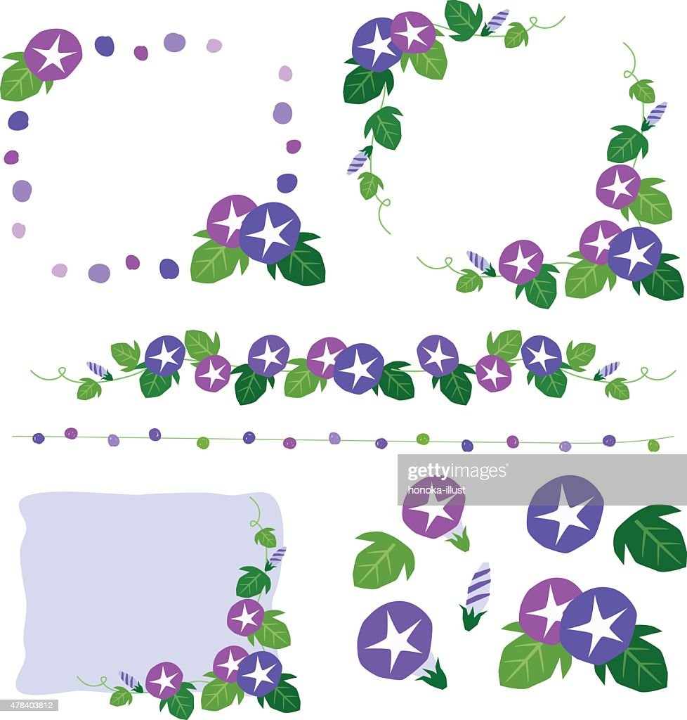 Set of morning glory hand-drawing decoration