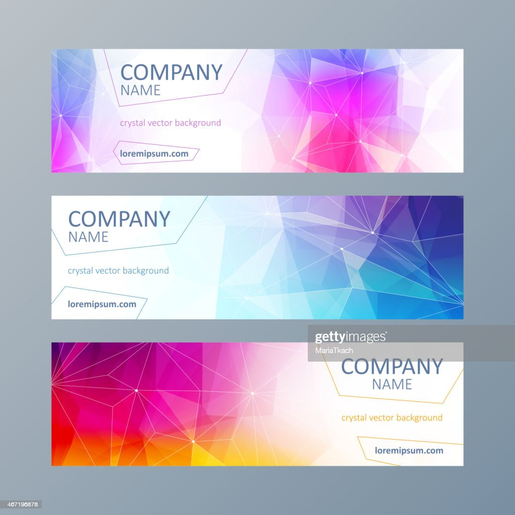Set of mosaic faceted banners templates.
