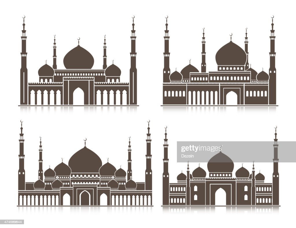 Set of Mosque or Masjid Elements Isolated