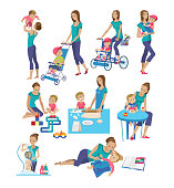 Set of mother and baby in different lifestyle situations