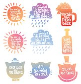 Set of motivational cards with slogans