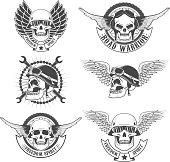 Set of motorcycle club labels templates.Skulls in motorcycle