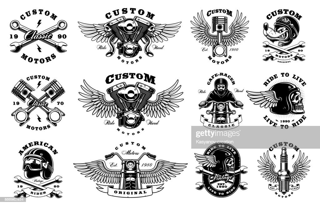 Set of motorcycle design templates (version for white background)
