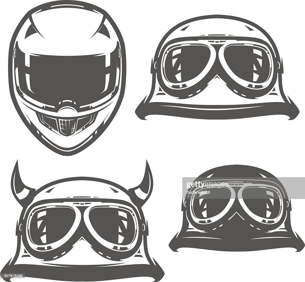 Set of motorcycle helmet vintage