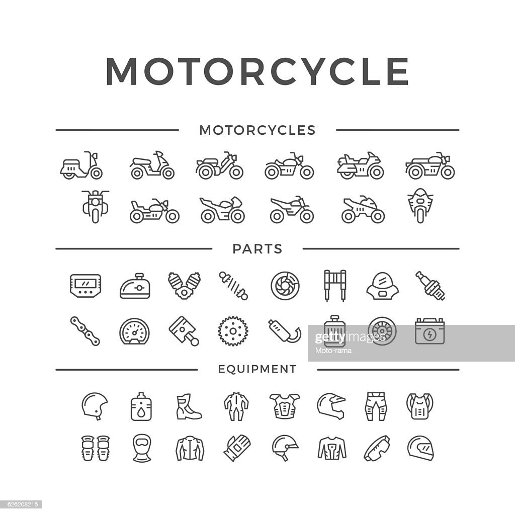 Set of motorcycle related line icons