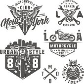 Set of motorcycle vintage style emblems, logo ,tattoo and prints.