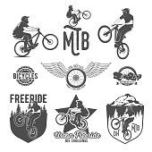 Set of mountain bike badges