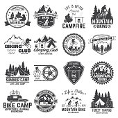 Set of Mountain biking and camping club badge. Vector