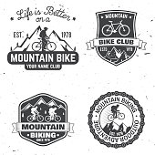 Set of Mountain biking clubs. Vector illustration