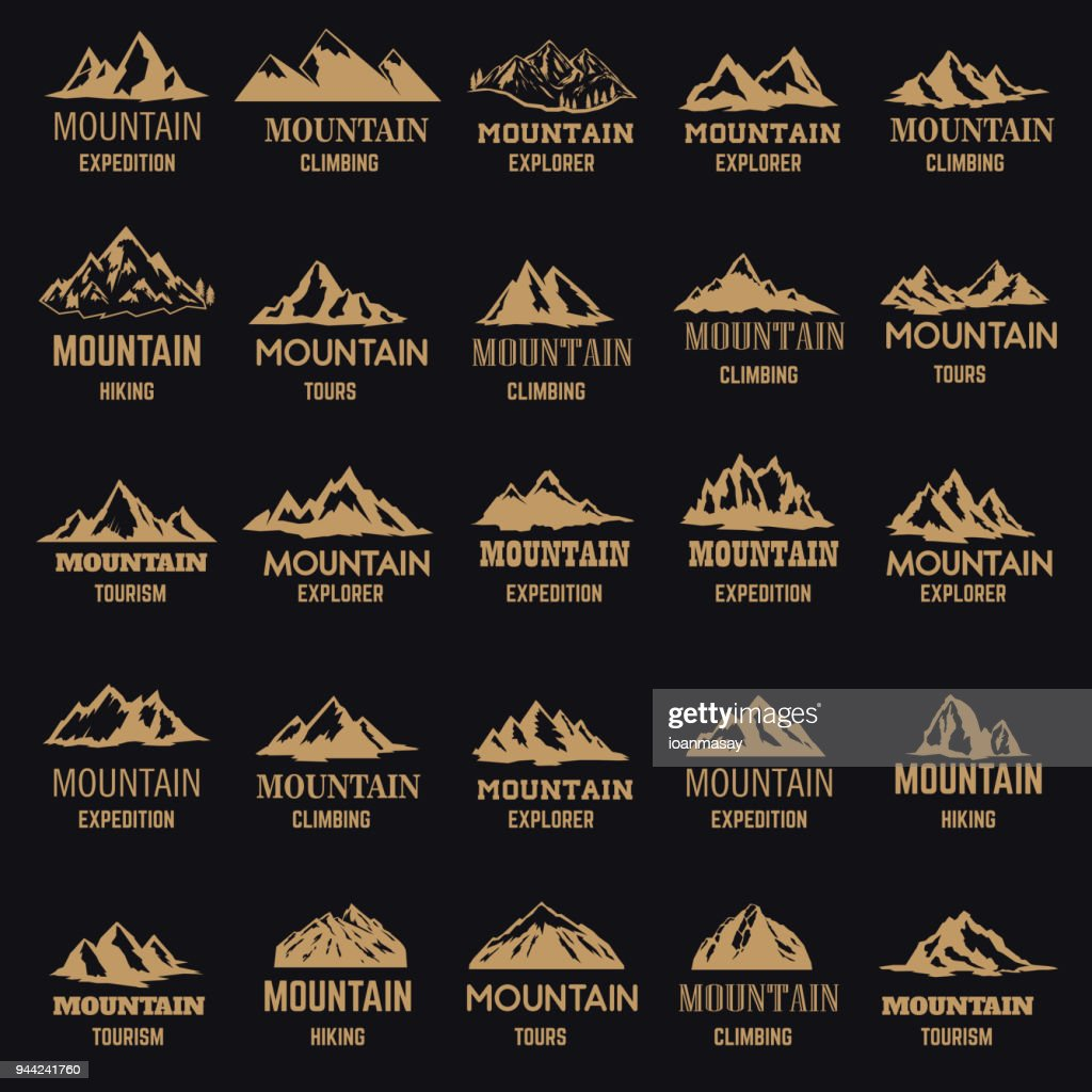 Set of mountain icons in golden style isolated on dark background. Design elements for label, emblem, sign.