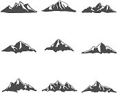 Set of Mountain Icons Vector Illustration