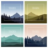 Set of mountain landscapes in different colors