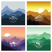 Set of mountain landscapes in different colors with emblems.
