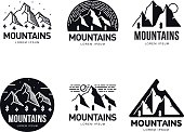 Set of mountains and outdoor adventures logo templates