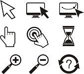 Set of mouse cursors hand cursor hourglass