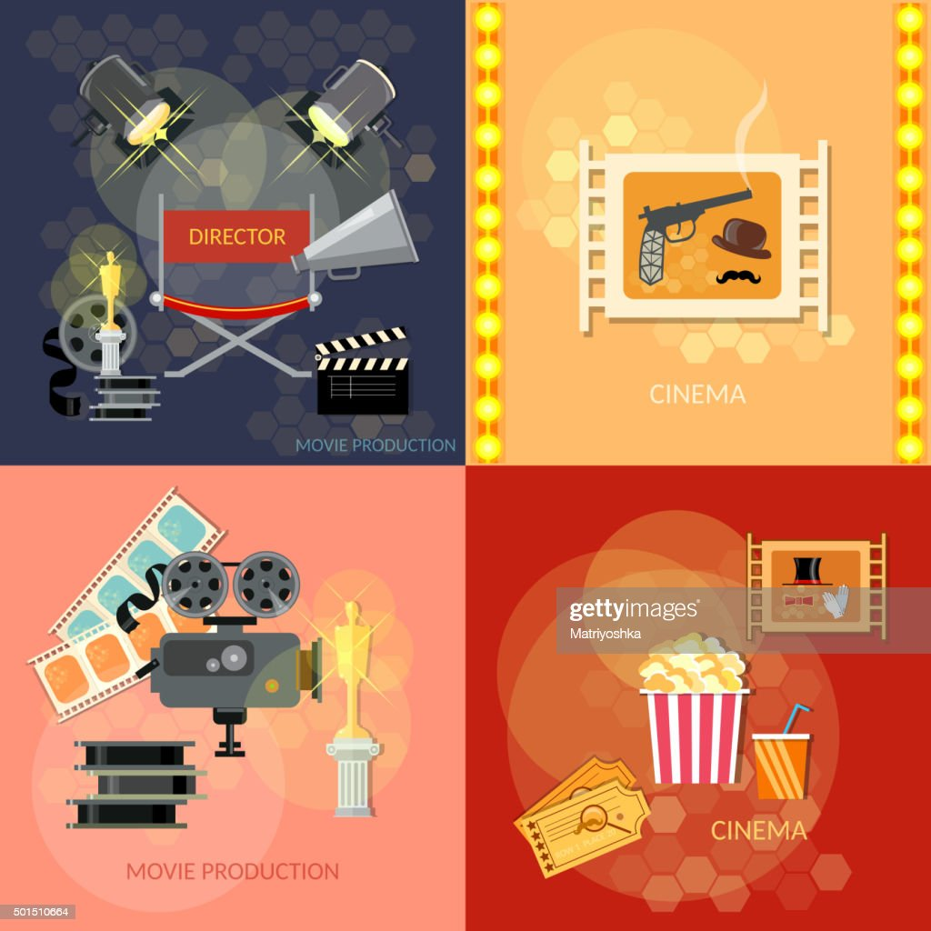 Set of movie design elements cinema festival movie tickets