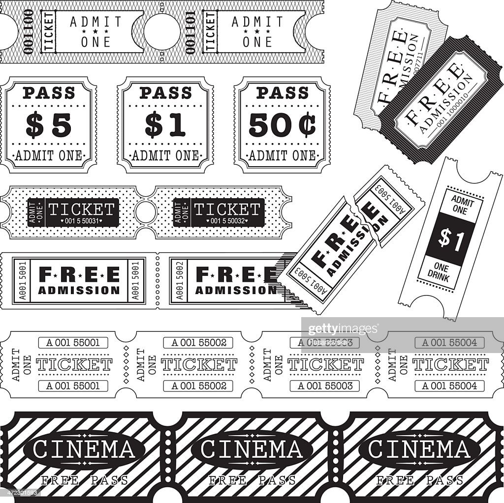 Set of Movie Tickets (Black and White)