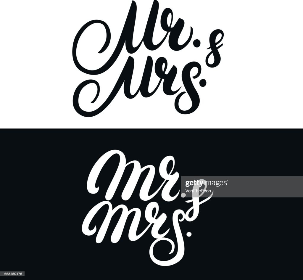 Set of Mr and Mrs hand written lettering.