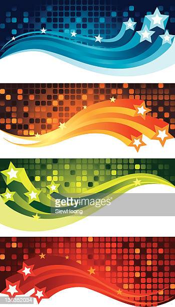 Set of Multi Coloured Star Banners