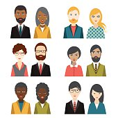 Set of multi cultural character heads. Flat illustration.