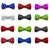 Set of multicolored bow tie.