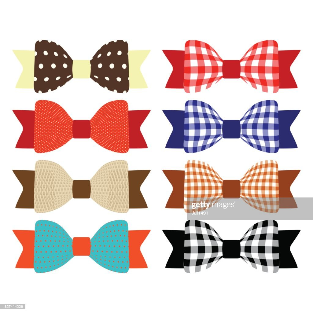Set of multicolored bows. Textile bows