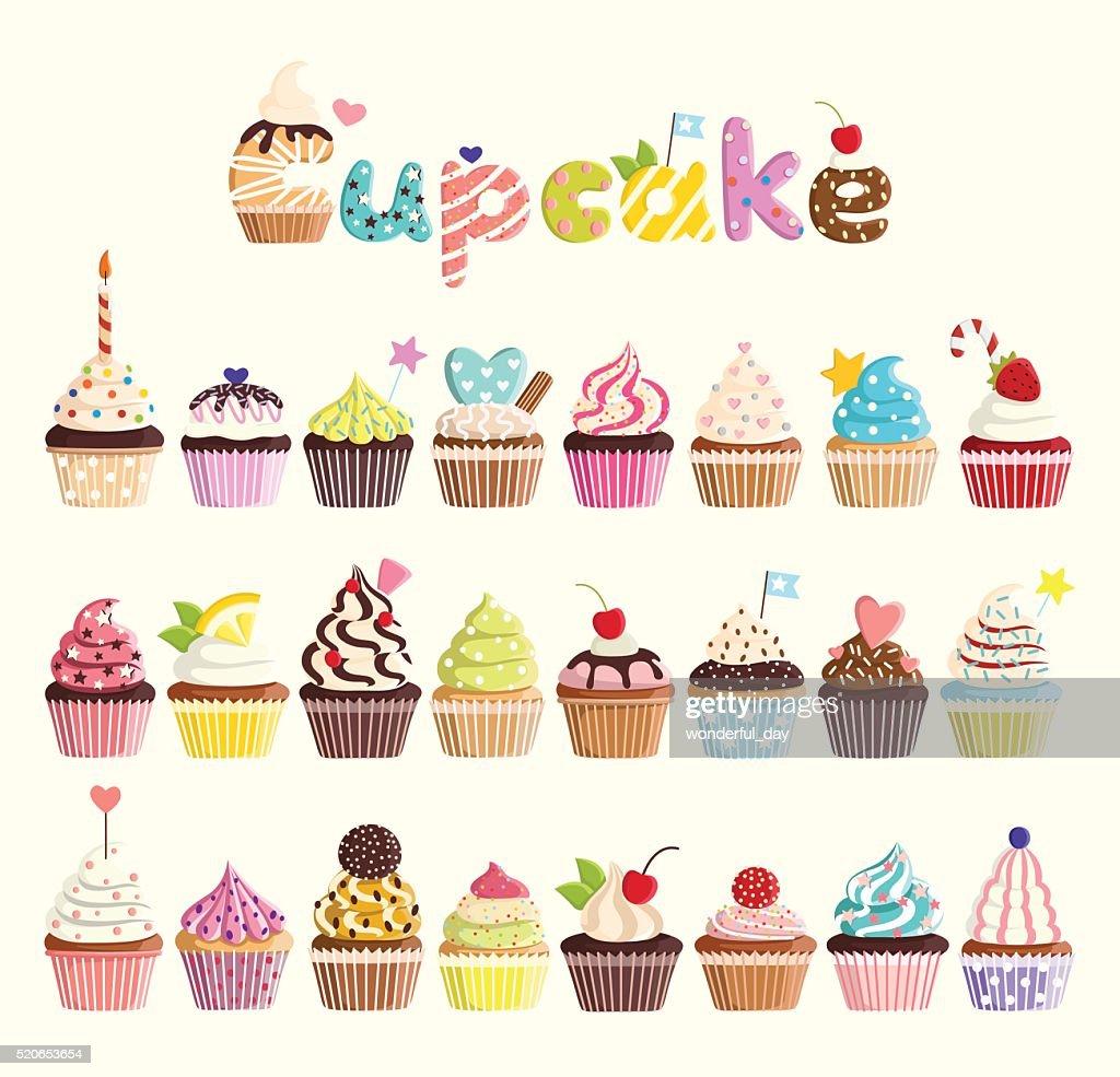 Set of multicolored cute cupcakes.