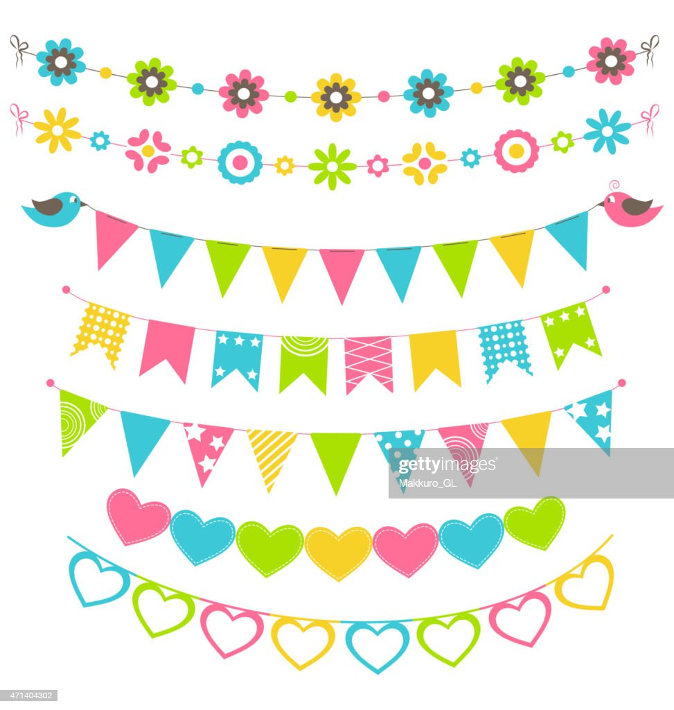 Set of multicolored flat buntings garlands flags with ornament i