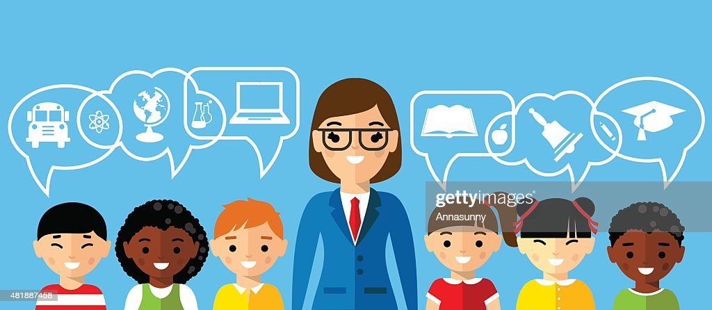 Set of multicultural pupil with teacher and dialog speech bubbles