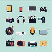 Set of Multimedia Flat Icons