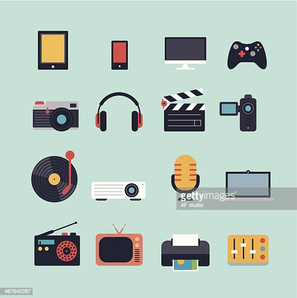 set of multimedia flat icons - video camera stock illustrations, clip art, cartoons, & icons