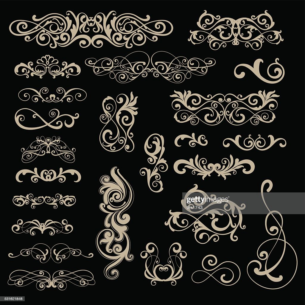 Set of multiple different classic swirls