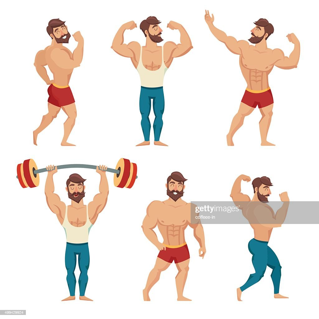 Set of muscular, bearded mans vector illustration.