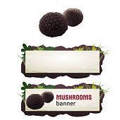 Set of mushroom vector banner, badge, sticker, icon with truffle