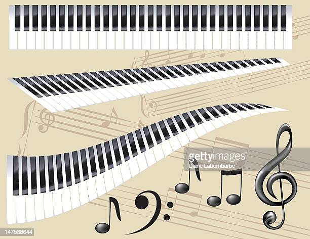 ilustraciones, imágenes clip art, dibujos animados e iconos de stock de conjunto de elementos de música - tecla de piano