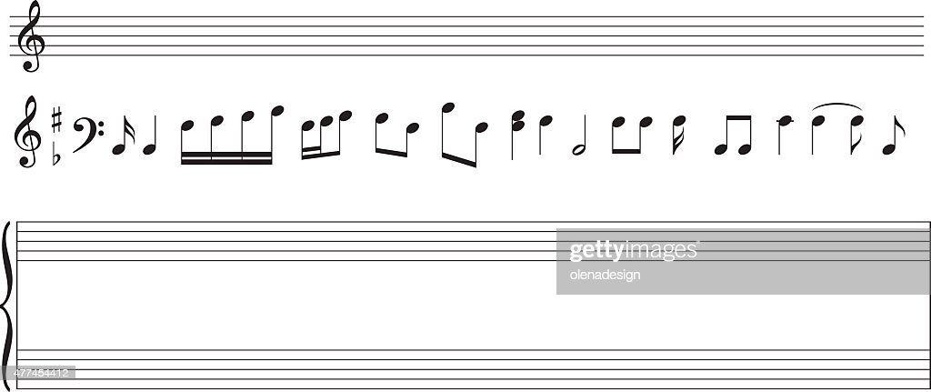 set of music notes and  staff - vector