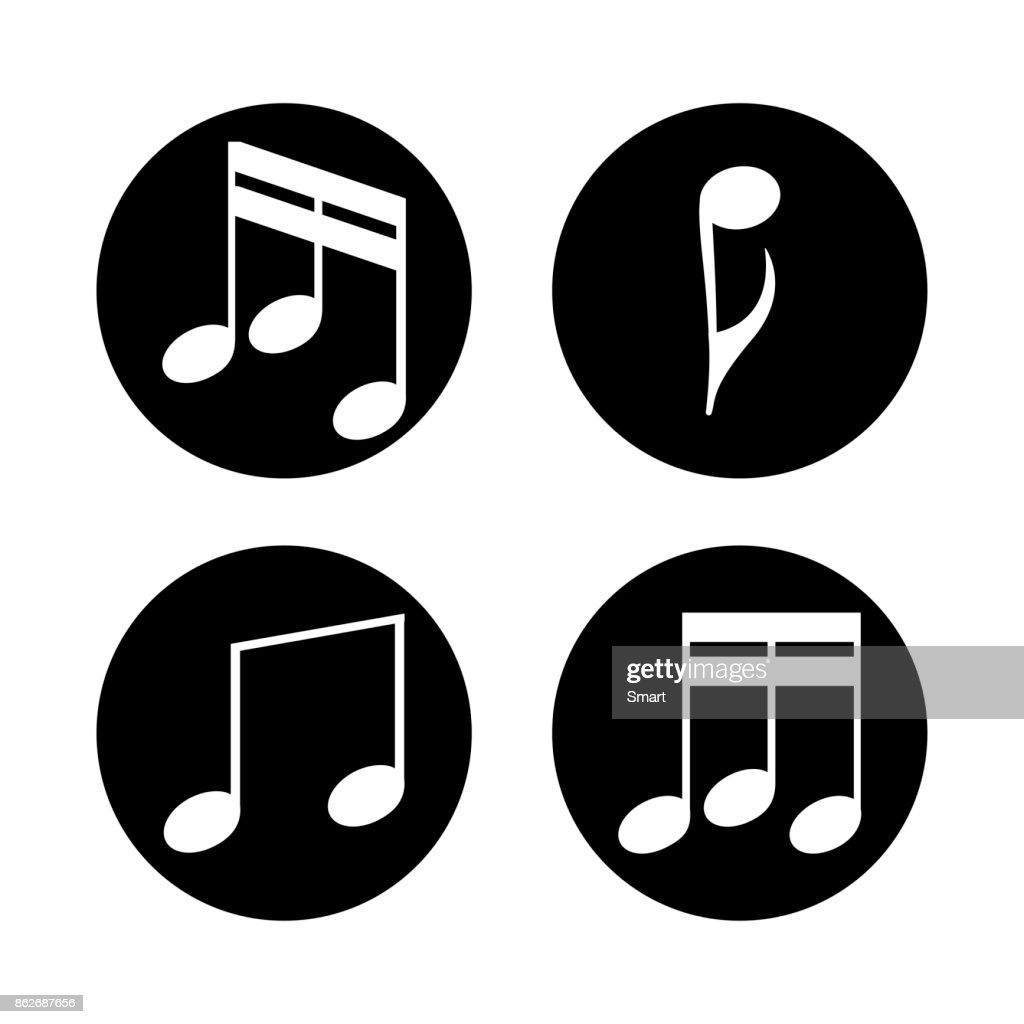 Set of music notes on a grey background