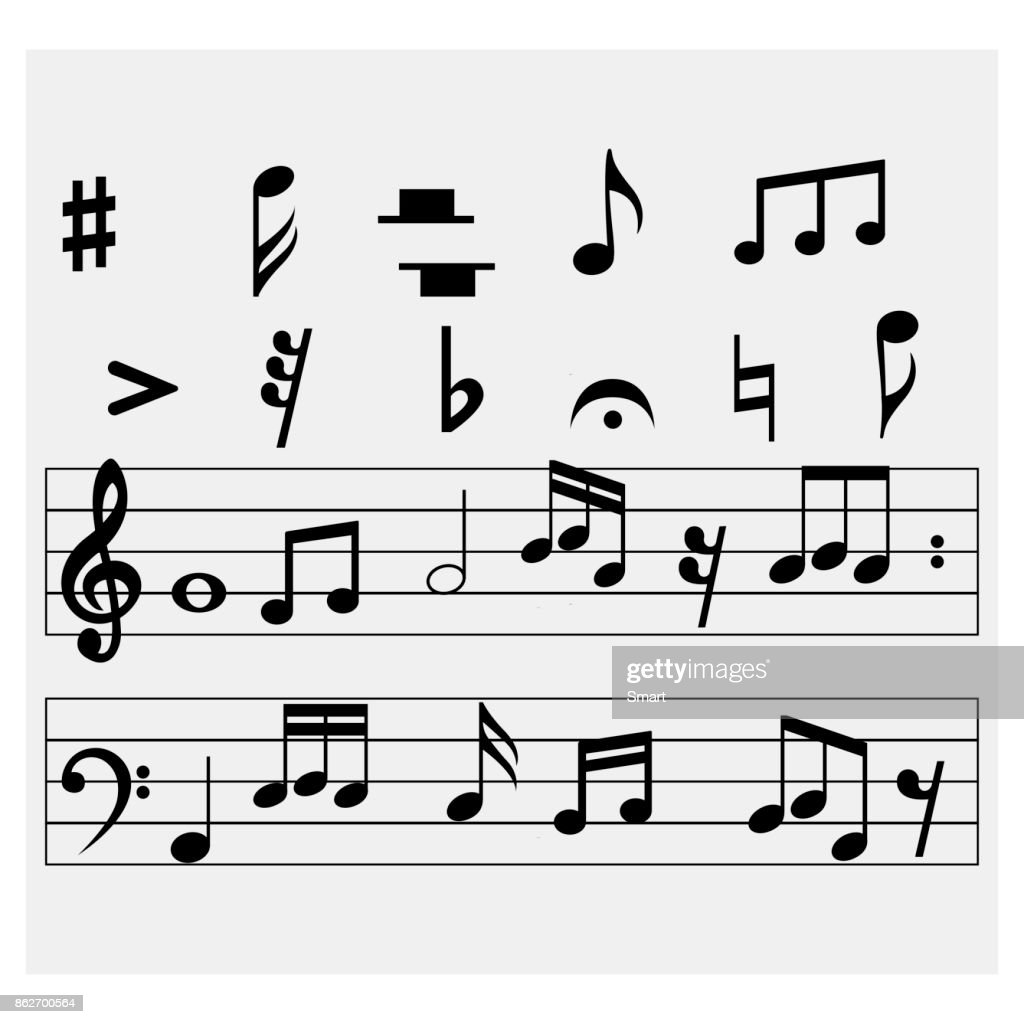 Set of music notes on a grey background. Vector illustration