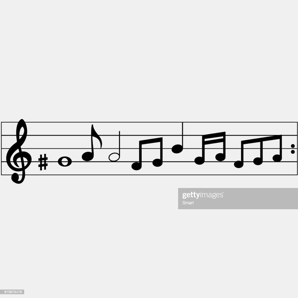 Set of music notes on a white background. Vector illustration